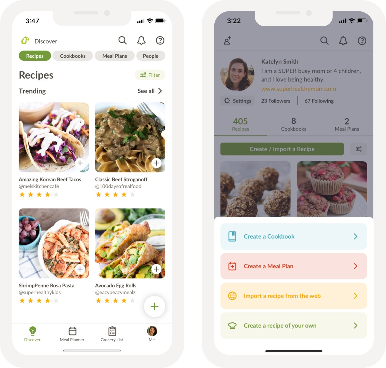 Features of the meal planning app Prepear.
